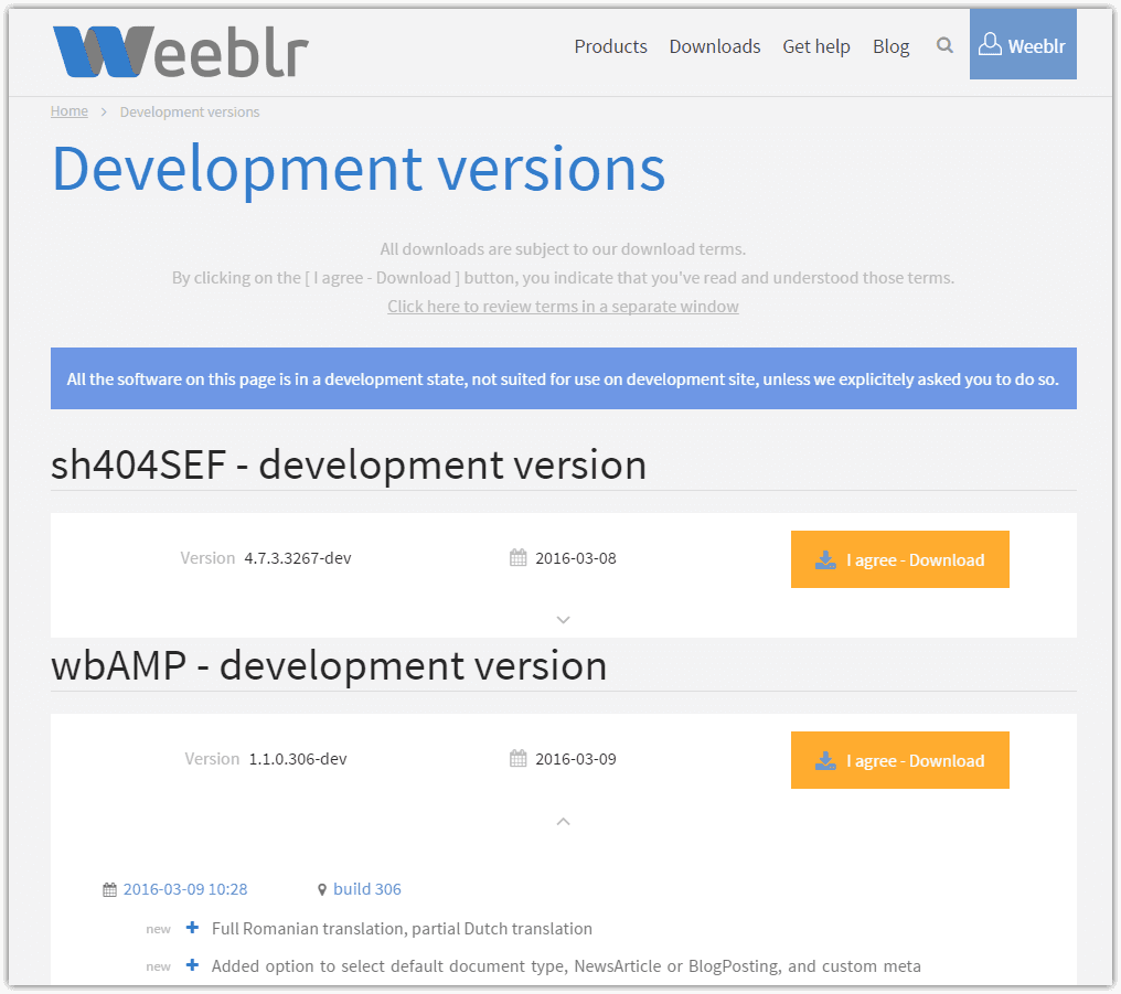 New development versions download area
