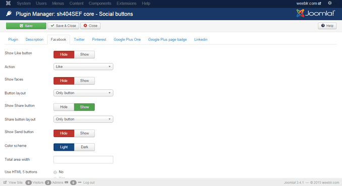 sh404sef social buttons for a page