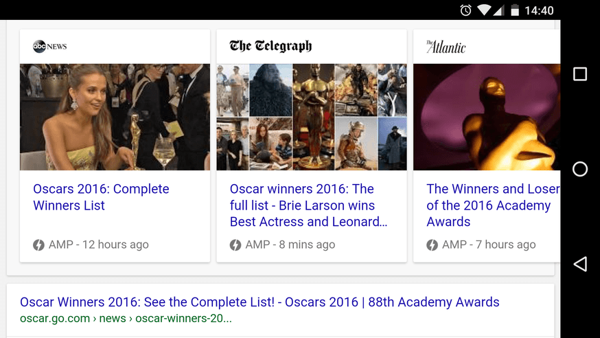 Accelerated Mobile Pages in Google search results