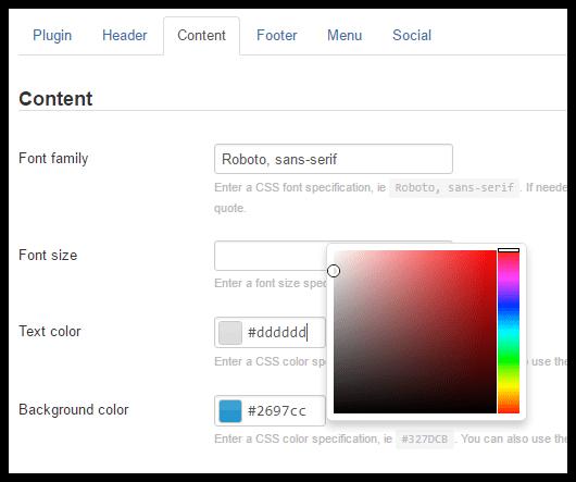 Screenshot of Taylor theme settings