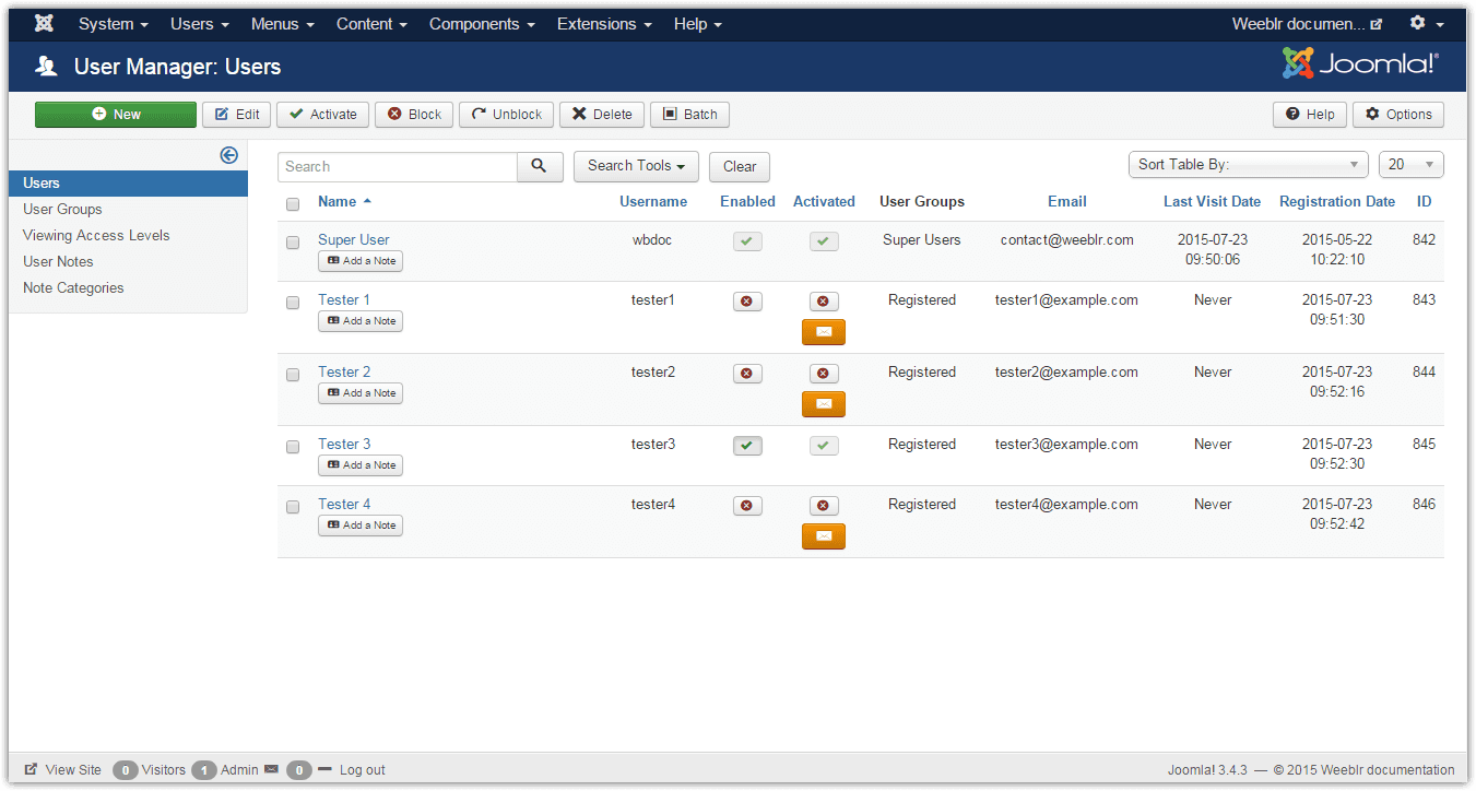 wbReactiv displayed on a Joomla users list
